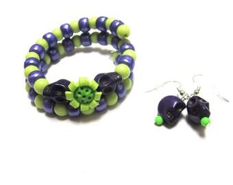 Sugar Skull Bracelet And Earring Set Day Of The Dead Jewelry Wrap Cuff Green Purple Flower