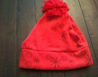 Fleece Hat Red Winter Snowflake