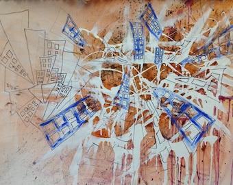 A PRINT. Ville\ City painting orange painting orange\. Abstract painting. Urban art. Graffiti art. Street art.