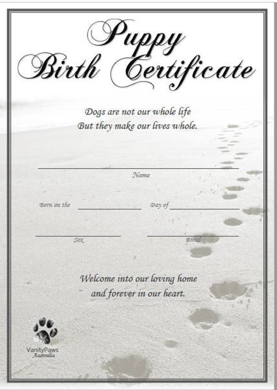 Influential image regarding printable puppy birth certificate