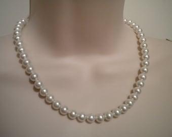Pearl necklace Bridal Pearl Necklace Bridesmaid Vintage Style Swarovski Pearls, PN030