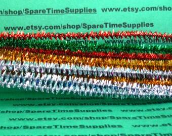 """Tinsel Stems - multi colors -  6mm x 12"""" -  48 pcs - Fibre Craft - #3250-59"""