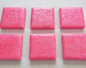 6 HOT PINK Glitter Square Mosaic Ceramic Tiles - Hand Painted