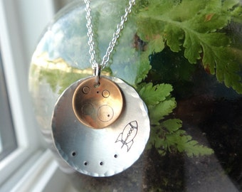 Rocket To The Moon Pendant- Yellow Moon Stamped Jewelry- Astronomer Space Jewelry- Moon Craters Aluminum Pendant on  Chain