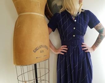Vintage 1950s Rosenfeld dress   50s navy shirtwaist