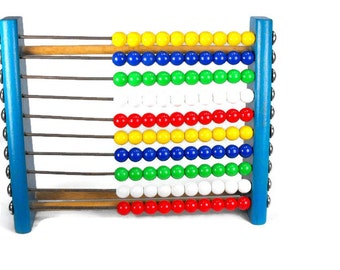 Vintage Toy Abacus - Mid Century, 1960's, Made in Germany, Counting Toy, Retro, Childrens Toy, Educational