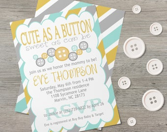 Cute As A Button - Baby Shower Invite - Shower Invitation - Gender Neutral -Girl Baby Shower -Baby Boy -Digital Printable -Printable Invites