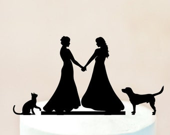 Lesbian cake topper,lesbian with dog and cat,wedding with dog and cat cake topper,mrs and mrs with dog and cat,lesbian silhouette (1038)