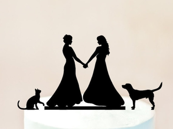 Lesbian Cake Topperlesbian With Dog And Catwedding With Dog