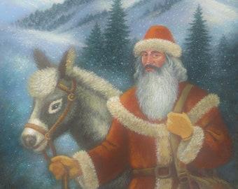Christmas Art, Santa Claus Art, Fairy Tale Art, Whimsical Art, Fantasy Art, Dreamy Art, Imaginary Art, Traditional Art