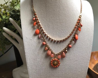 Vintage Faux Coral and Goldstone Necklace Layered Look Neck