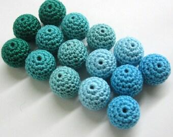 Crocheted beads 18mm, 15 pc.,  blue mix, handmade craft balls, textile beads