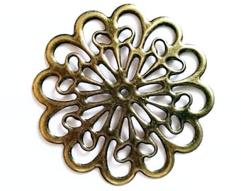 5 Antique Bronze Filigree Hollow Flower Connectors Jewelry Findings ABFFC60MM-5WD3