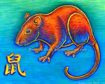 Chinese Zodiac Animals Year of the Rat Mouse Colorful Original Pastel Drawing Art