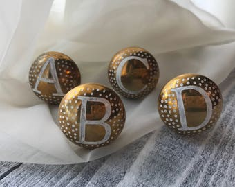Round Metal Letter Knobs, Baby's Dresser Knobs, Hand Painted White Letters Gold Embossed Drawer Pulls, Cabinet Hardware, Item #540780930