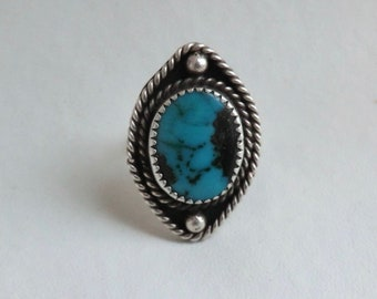 Vintage Sterling Turquoise Ring Silver Twist Border Size 6.5