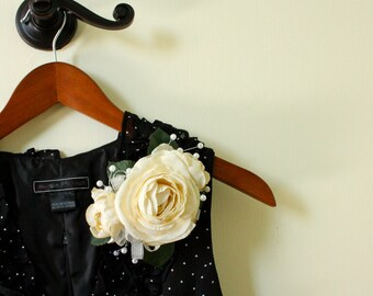 Silk Corsage in Cream-Ivory Ranunculus and Pearls, Shabby Chic Style, Mother's Day Corsage, Mother of the Bride Groom