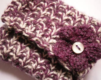 Hand Knitted Coin Purse, Purple and White with Flower Decoration