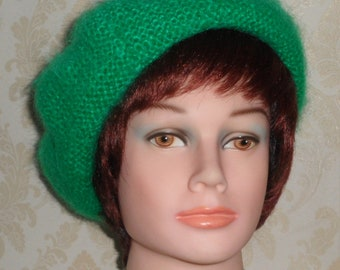 Bright green mohair beret-The elegant female beret-Smart, fuzzy, soft and warm mohair beret-Smart winter beret-Made to order mohair beret