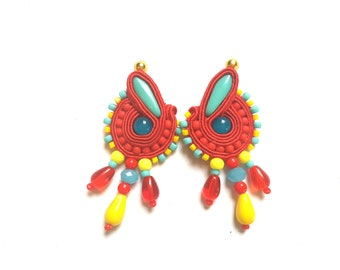 Euzebia - Soutache Earrings, big earrings, colorful boho earrings