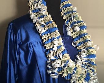 50 Dollar Money Lei - Graduation Lei - Cash Lei - Dollar Bill Lei - Royal Blue Lei