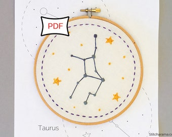 12 Zodiac Constellation Embroidery Patterns • PDF Download