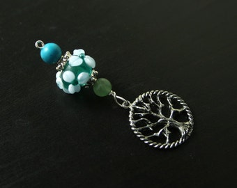 Aventurine and Turquoise magnesite Forest Spring Tree of Life Blessingway bead - Blessing, baby shower gift, pregnancy pendant, doula gift