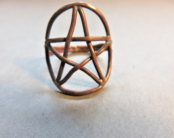 Copper Pentagram Ring,   Size 9 3/4,  Hand Crafted Copper Ring