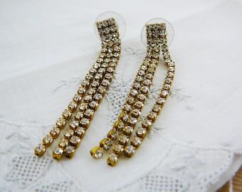 Vintage .. Rhinestone Earrings, Czech, Dangle, Clear, pierced,
