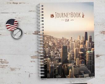 USA / Amerika Reisetagebuch mit kleinen Aufgaben & Reise-Zitaten - zum selberschreiben oder als Abschiedsgeschenk - JourneyBook