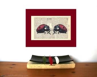Valentine Gift   Wedding Gift   Engagement Gift   Ladybug Love Book Art Print   Gift for Her   Gift for Him   Personalized   Wall Decor