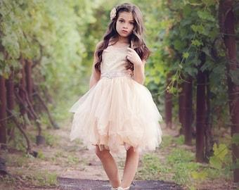 Flower girl dress, lace flower girl dress, country flower girl dress, rustic flower girl dress, baby dress, champagne lace dress, girl dress