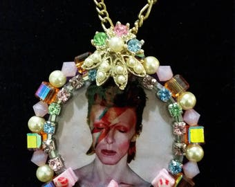 Aladdin Sane Pendant Necklace - handcrafted David Bowie tribute piece