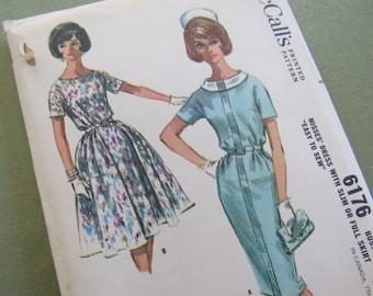 UNCUT McCall's Dress Sewing Pattern #6176 Vintage 1961 Dress Pattern Size 14 Bust 34 Easter Dress FULL SKIRT Slim Skirt Clothing Pattern