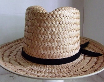 NEW Vintage AUTHENTIC SUNSETAmish Mens Straw Hat, x-small