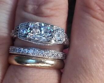 Edwardian Engagement Ring - Antique Engagement Ring - Art Nouveau Style Engagement Ring