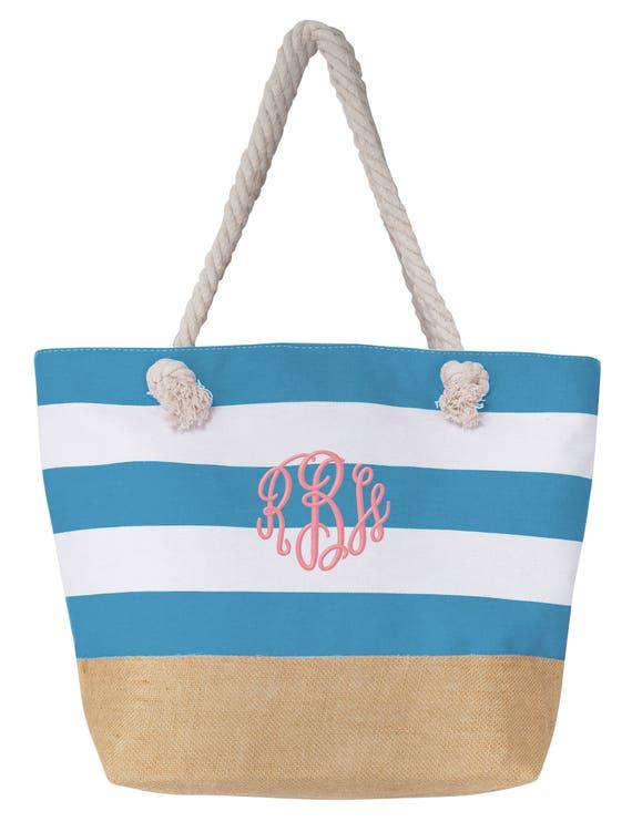 monogrammed-pink-mint-large-beach-bag