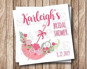 Printable Bridal Shower Tags, Printable Wedding Shower Tags, Umbrella of Flowers Tags
