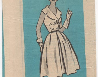 """1950's Ohio Farmer One Piece Dress with Double Breasted Look - Bust 34"""" - No. 4764"""