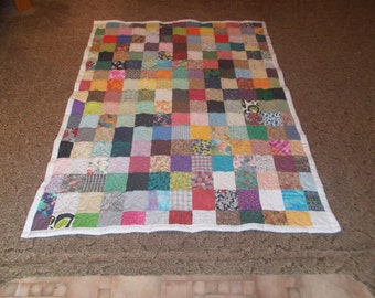 Lap Quilt - Custom Made Quilt - Scrappy Patchwork Quilt - Full Payment