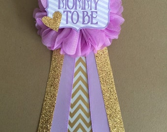 Purple Gold Baby Shower Corsage Baby Shower Pin Mommy To Be Pin Flower  Ribbon Pin Purple