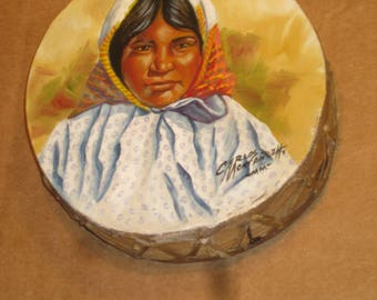 Artist Signed Hand Painted Rawhide Drum   [cin125bt]