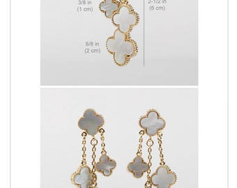 Beautiful Tri-Drop Earrings- Mother of Pearl