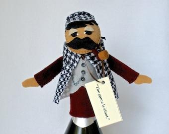 Sherlock Holmes Bottle Topper, Bottle Cozy, Sherlock Puppet,  Felt Wine Topper, Hand Stitched Hostess Gift, Wine Gifts, Good Spirits™