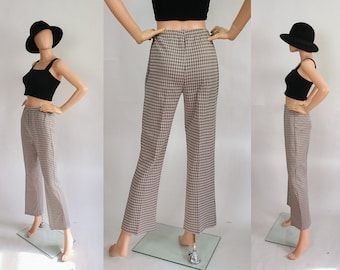 1970s Pants Groovy High Waisted Hi Rise Knit 70s Wide Leg Trousers Retro Houndstooth Print Coffee & Cream Geometric Printed Disco XS Small