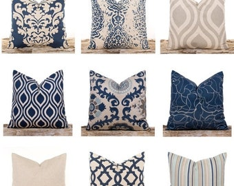 SALE ENDS SOON Navy Throw Pillows, Burlap Pillow Covers, Lattice, Damask, Stripes, Natural, Linen Fabric, Blue and Tan, Ogee Print Pillow