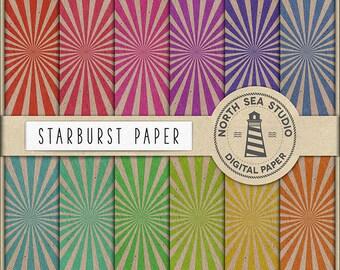 Sunburst Digital Paper, Vintage Sunburst Scrapbook Paper, Old Paper Backgrounds, 12 JPG 300 dpi Files Download, BUY5FOR8