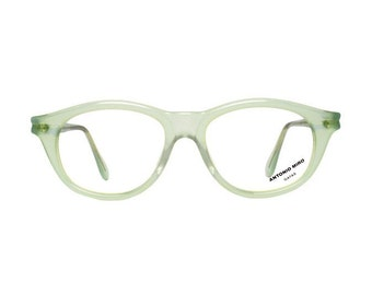 green eyeglasses - vintage transparent eye glasses frames - womens 1980s new old stock eyewear by Antonio Miro - verde
