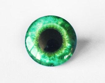 25mm handmade glass eye cabochon - green eye - standard profile