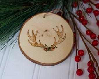 Deer Antlers Wood Christmas Ornament